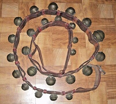 Antique 1800s Horse Sleigh Bells 25 Graduated Bells On Double Leather Strap