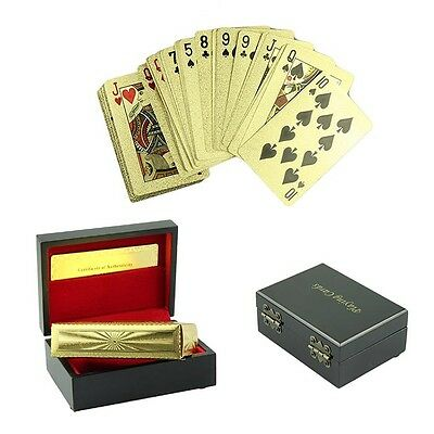 HOT!24K Karat Gold Foil Plated Poker Playing Card with Wood Box and Certificate