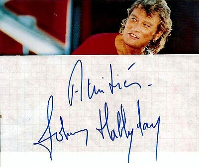 "Superbe-Autographe-Original-De-""johnny-Hallyday""."