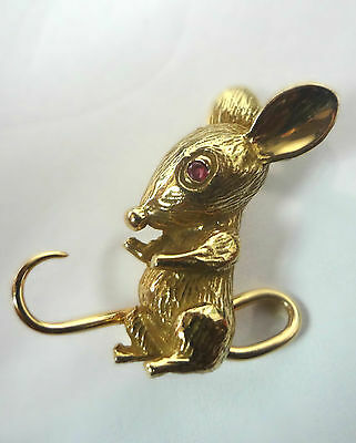 14 k Yellow Gold Mouse Rubies Eyes Brooch-Pin