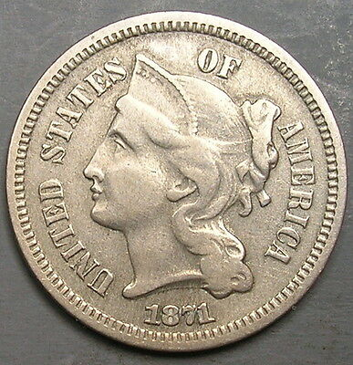 One 1871 Three Cent Nickel.  Relatively Low Mintage Coin.