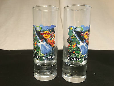 *LOT OF 2* Hard Rock Cafe Set Tall Double Shot Glass Guitar-Cancun Mexico-Mint!