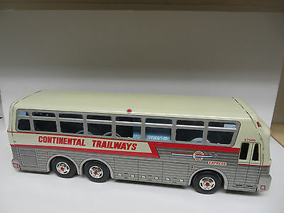 "Trailways Eagle 05  Tinplate Lithograph Silver Eagle 14"" Friction Motor Bus"