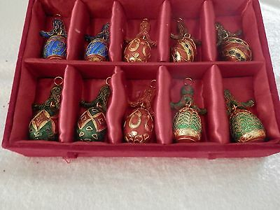 10 Cloisonne eggs, with bale, (Fabberage clone) in red velvet box