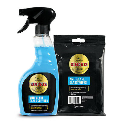 Simoniz High Visibility Anti Glare Glass Car Window Cleaner 500ml + Wipes Set
