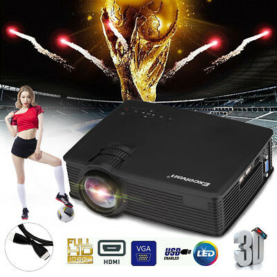 2000LM LED Beamer 1080P HD Heimkino Projektor HDMI USB SD AV VGA Multimedia DE