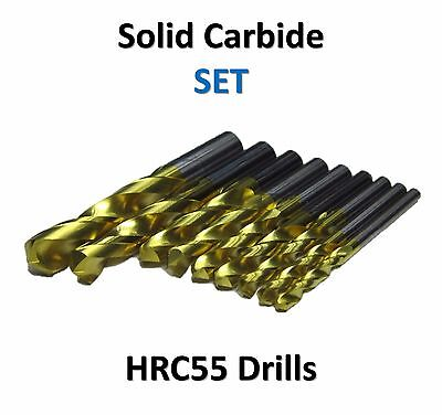9 pcs Set, Solid Carbide Drills 55HRC TiN Coated Drill Bit Stainless Steel 3-8mm