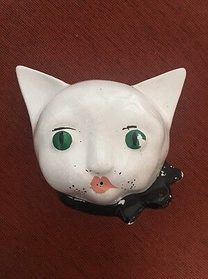 Vintage Cat Head String and Scissor Holder Wall Mounted Retro