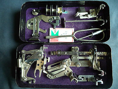 Vintage Singer Sewing Machine-Crinkle Tin Of Accessories/feet 201/99/28 Etc