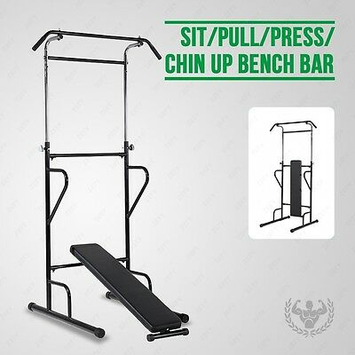 Fitness Power Tower Dip Station Home Gym AB Sit/Pull/Press/Chin Up Bench Bar New