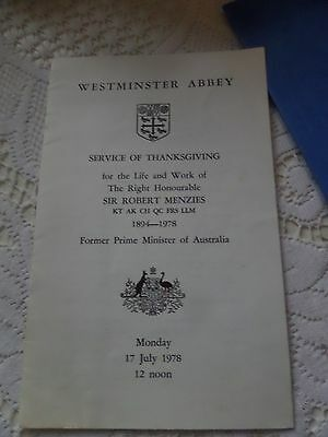 sir robert menzies/australia prime minister/service of thanksgiving/westminster