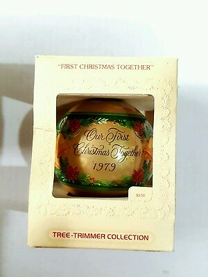 New Hallmark 1979 Our First Christmas Together Glass Ball Ornament