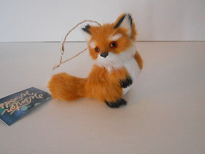 Adorable! sitting fox ornament Christmas holiday faux fur new with tags