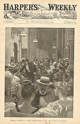 Saratoga New York, Evening Concert On A Hotel Plaza, Vintage 1896 Antique Print