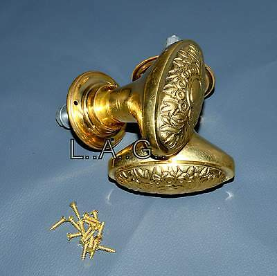 Victorian Brass Door Knobs Handles Brass Flower style Architectural Antique Old