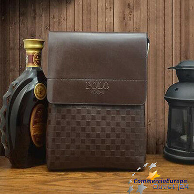 tracolla uomo polo videng in pelle borsello borsa man iPad iPhone colore marrone