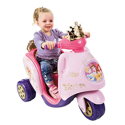 Girls Kids Scooty Disney Princess 6v Battery Electric Ride on Trike Car Toy Pink