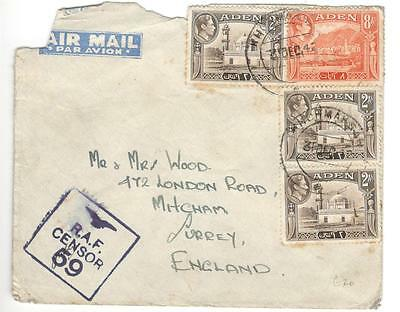 a8 Aden cover to England with RAF censor 59 stamp