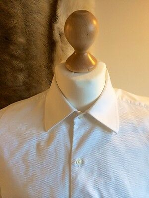 Turnbull and Asser Mens Sea Island Formal White Texture Dinner Shirt 16.5 Tuxedo