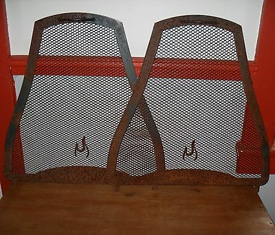 Antique Stove or Fireplace Screens Pair Salvage Steampunk Yard Art