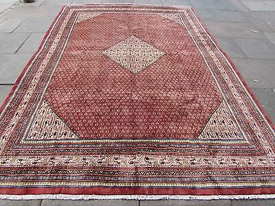 Old Traditional Persian Rug Wool Red Pink Oriental Hand Made Carpet 360x250cm
