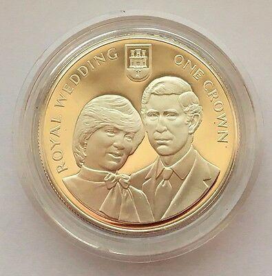1981 Gibraltar Proof Royal Wedding One Crown Silver Coin Free Shipping