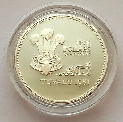 1981 Tuvalu Proof Royal Wedding Five Dollars Silver Coin Free Shipping