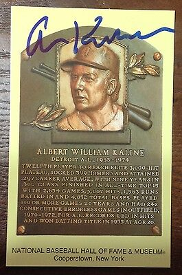 Detroit Tigers- Al Kaline AUTOGRAPH SIGNED HOF Yellow Plaque Postcard w.COA
