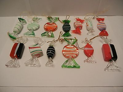 Set Of 13 Candy Shaped Glass Ornaments Holiday Christmas Red Green Blue White