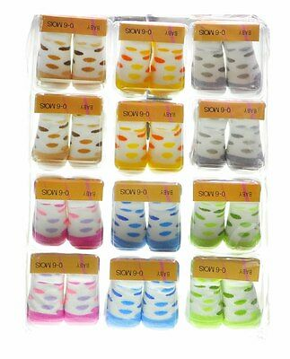 Wholesale Job Lot 12x  Pairs Baby Socks Supper Soft Cotton 0-6 Mixed Colours