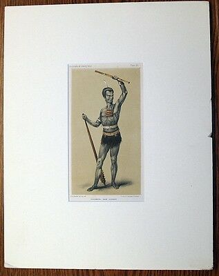 2 antique prints New Guinea native people c. 1848 Dr. Prichard hand colored lith