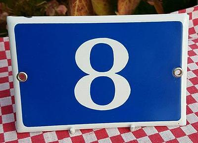Vintage French Industrial Traditional Blue & White Enamel Door / House Number 8