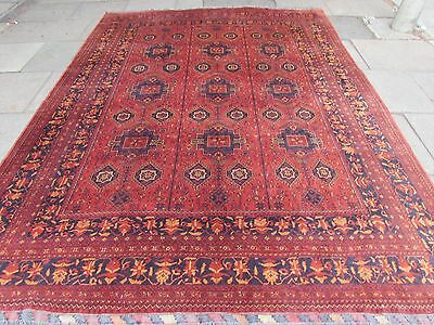 Old Traditional Hand Made Afghan Oriental Wool Brown Red Large Carpet 340x252cm