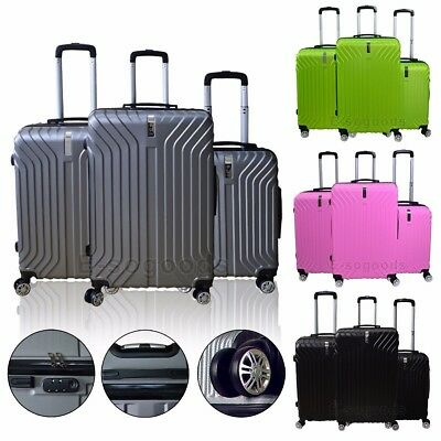 3 PCS Luggage Travel Set Bag ABS Trolley Suitcase 360° Spinner Wheels Lock USA