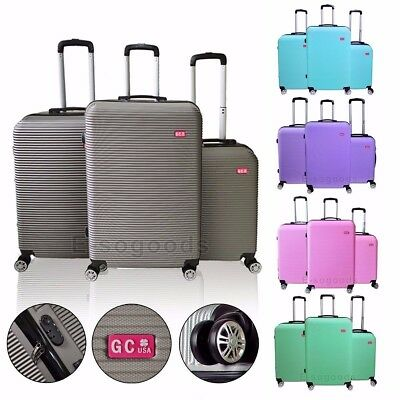 3 PCS Luggage Travel Set Bag ABS Trolley Suitcase with Lock 360° Spinner Wheels