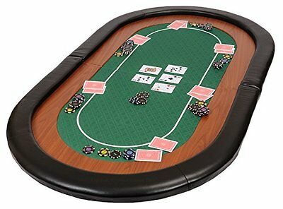 Champion Folding Poker Table Top in Green Speed Cloth and Faux Leather #5AI