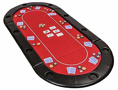 Classic Folding Poker Table Top in Red Suited Speed Cloth and Bag – 200cm