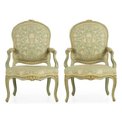 Pair of French Louis XV Style Green Painted Antique Arm Chairs Fauteuils, 19th C