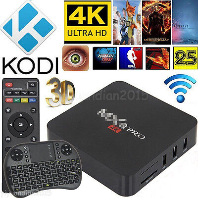 MX Pro Quad Core 4K Android 5.1 Smart TV Box WIFI M8S Fully Loaded+Keyboard YIUK