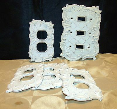 Vintage Electric Iron Switch Plates & Outlet Cover Off White And Embossed Design