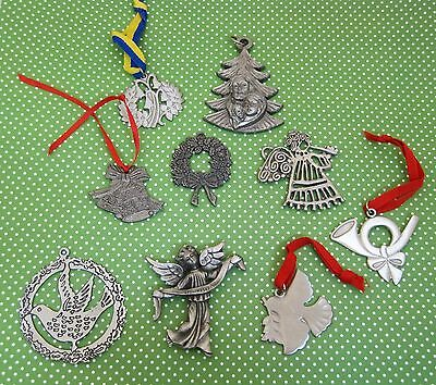 Lot of 9 1970 - 80 Vintage Pewter Christmas Ornaments Sweden Italy T31