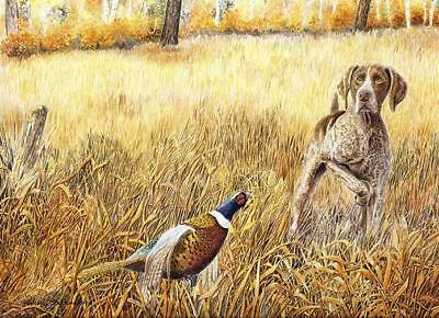 """GSP on Point"" A Limited Edition German Shorthaired Pointer Print"