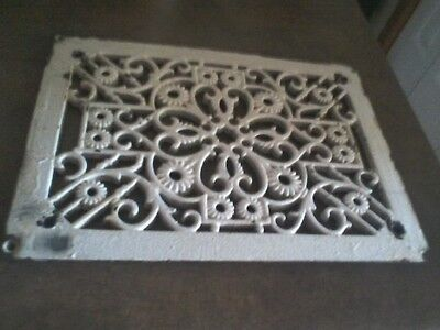 ORNATE VINTAGE CAST IRON HEAT floor Vent  EXTRA DETAILED ANTIQUE CREAM CHIPPY