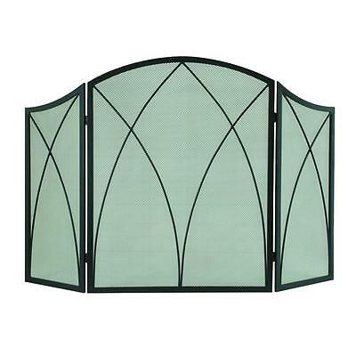 Pleasant Hearth Fireplace Screen Arched 3 Panel Durable Mesh Door Steel Black