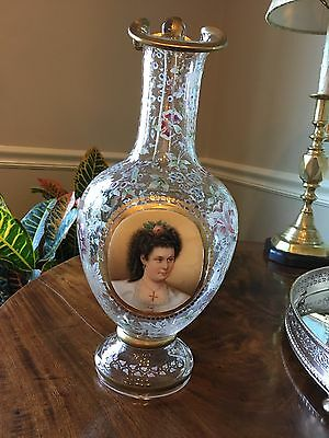 Antique Bohemian Etched Clear-Glass Cameo Portrait Wine Pitcher