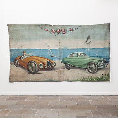 Extremely Large 1940's Fairground Canvas. 20th Century Fairground Art. Antique.
