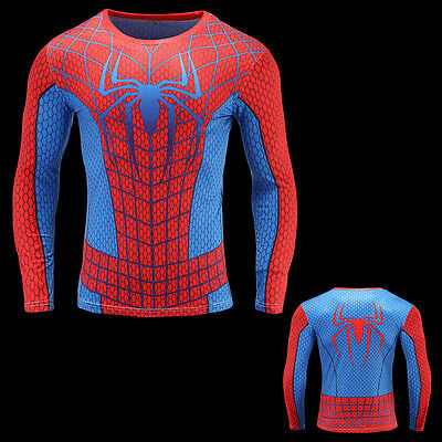 Mens Spiderman compression top gym superhero avengers marvel muscle gift present