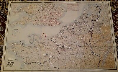Copy of WW2 German Intelligence Map issued 3 July a month after DDAY .Large Map