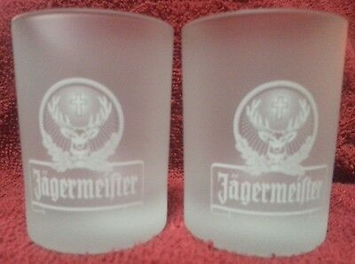Pair of Jagermeister collectable Deer Elk Head Shot Glasses  Frosted   NEW (2)