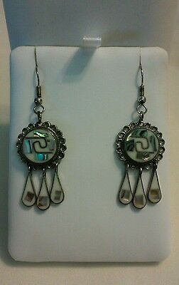 NEW HANDMADE ALPACA MEXICO PIERCED EARRINGS MOTHER of PEARL TURQUOISE GORGEOUS